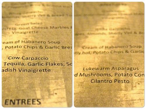 Restaurant MB menu