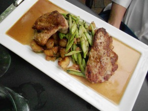 Veal medallions, fingerlings, asparagus, lemon veal jus