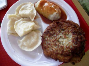 Halinka Polish Deli platter: stuffed cabbage, potato pancake, cheese & potato pierogi
