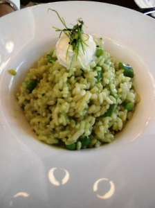 Spring vegetable risotto at Rat's, Grounds for Sculpture