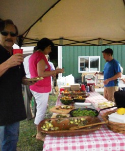 Diners sampling Elements' ever-changing spread at Z Food Farm