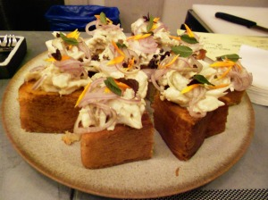 Crab, red onion, & aioli on cornbread squares, Jockey Hollow