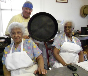 Dot Burton. Lucille Thompson & the skillet that Ms. Burton wielded to make her famous fried chicken
