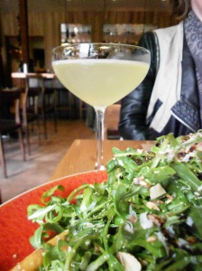 Calypso cocktail & arugula salad with stone fruit & almonds, CotognaSF