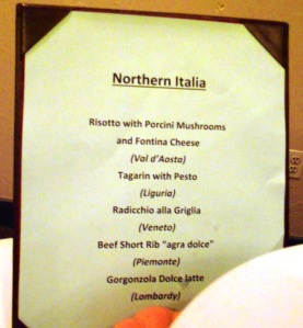 Northern Italy food selection
