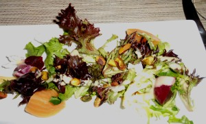 Morgan Red & Yellow Beet Salad w/Goat Cheese, Citrus, & Pistachios