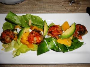 Morgan Grilled Shrimp w/Butter Lettuce, Pickled Mango, Avocado, Toasted Almonds, Cucumber Yogurt