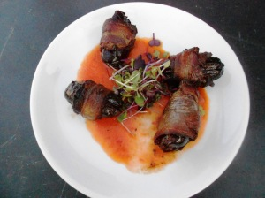 Bacon-wrapped dates w/almonds & roasted red pepper sauce. Nektar, New Hope