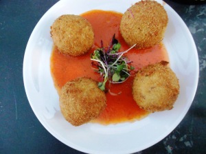 Goat cheese & potato croquettes with roasted red pepper sauce. Nektar, New Hope